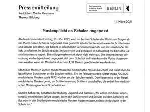 Pressemitteilung zur Maskenpflicht ab 15.03.2021