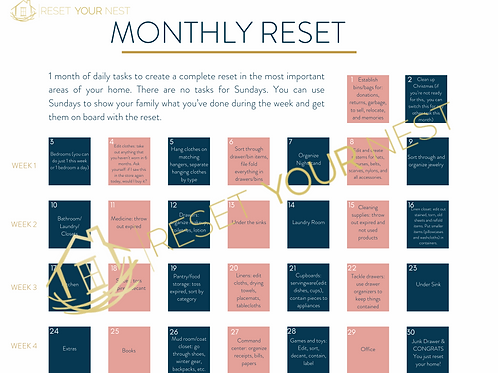 Monthly Reset Printable