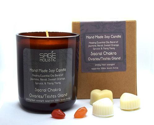 Sacral Chakra, Ovaries & Testes Gland 200g Candle