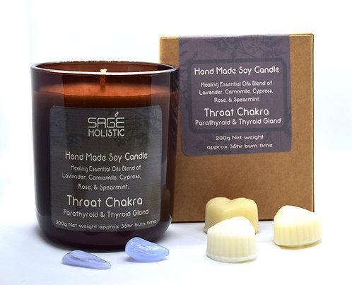 Throat Chakra & Parathyroid & Thyroid Gland 200g Candle