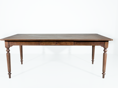 794 Newly built farmhouse table has a drawer and turned legs