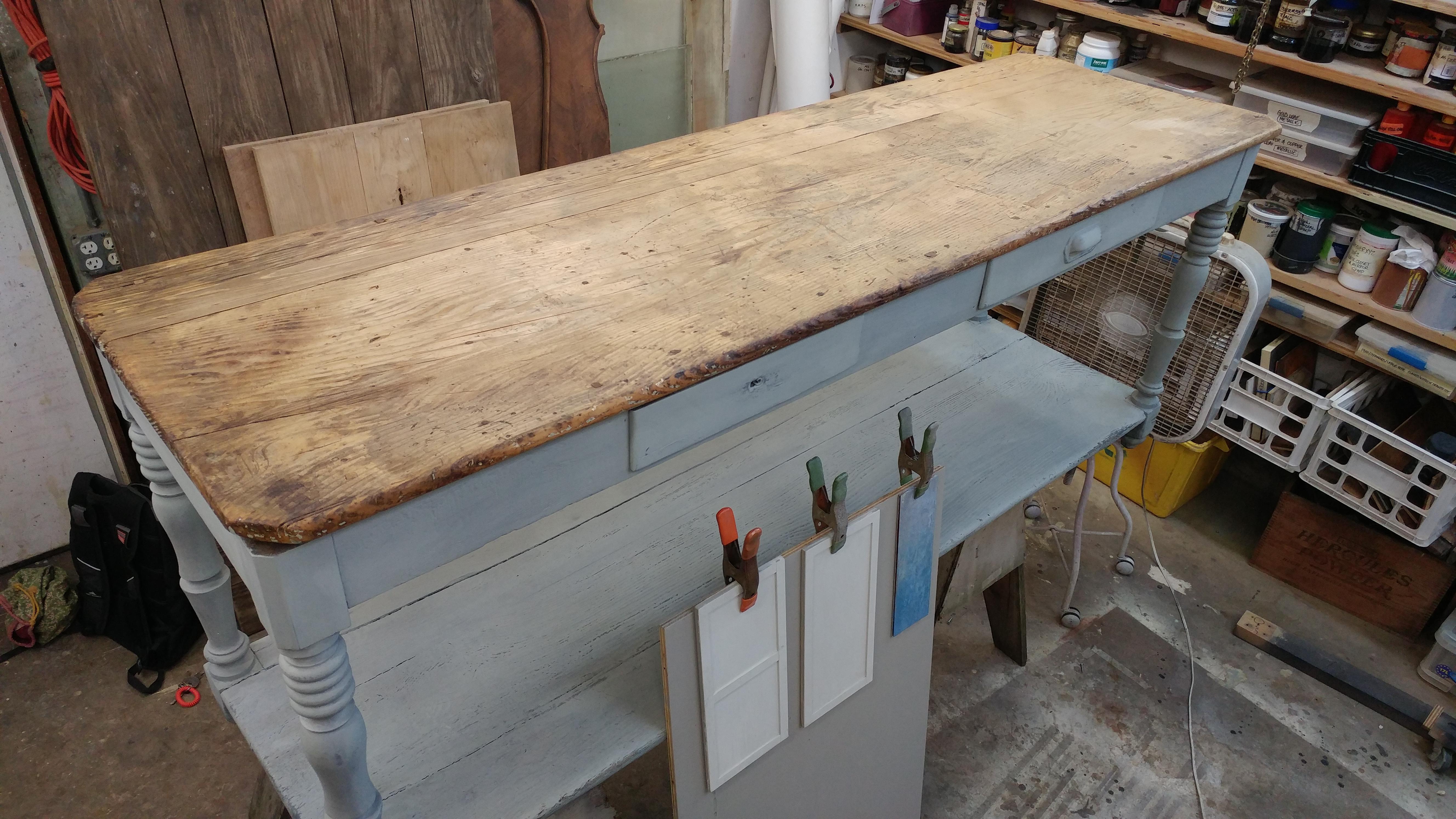 farmhouse console table repair 6