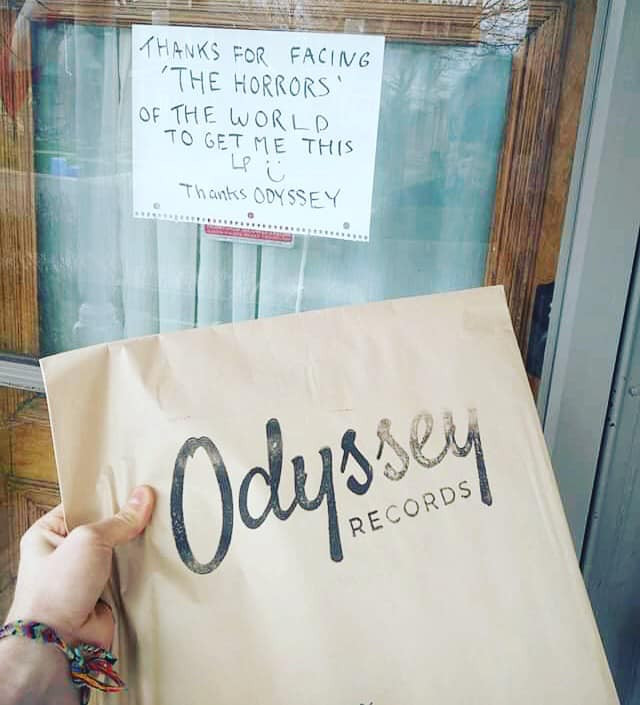 Fun little messages to greet the deliverer! Photo via Facebook / @OdysseyVinyl