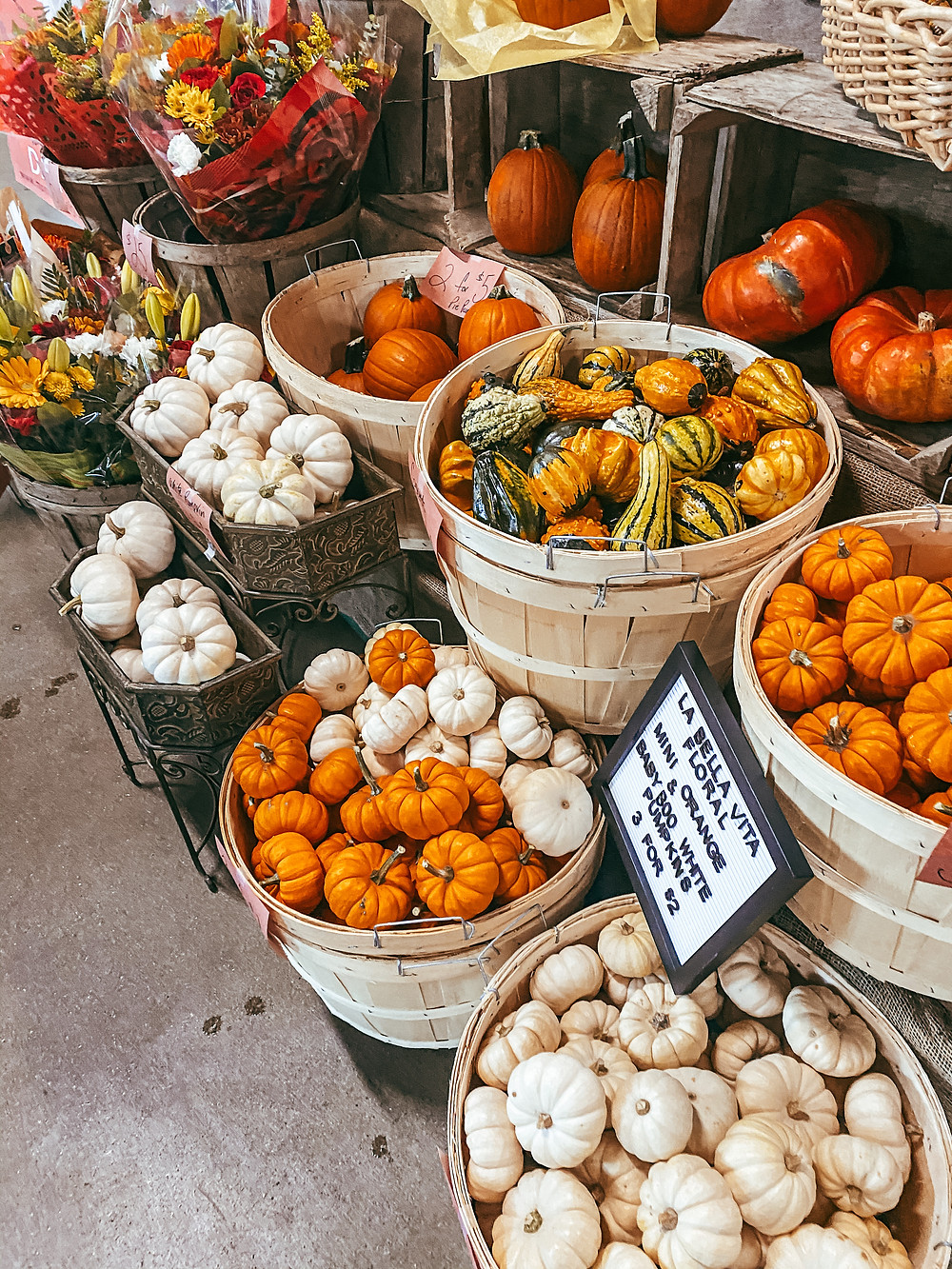 Baskets filled with pumpkins and gourds at a market stall