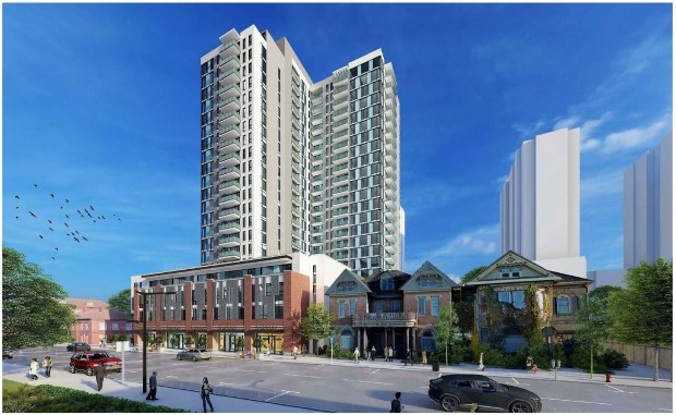 Rendering of the proposed 24-storey, mixed-use residential/commercial tower at Hewitt and Dundas Streets. Image via London.ca