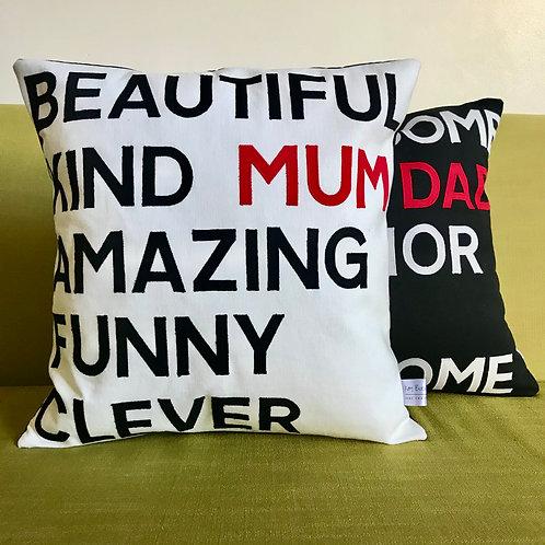 Mum/Dad cushion