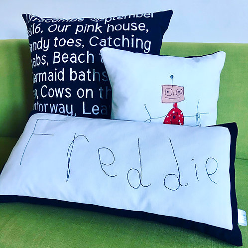 Your Child's First Hand Writing on a Cushion
