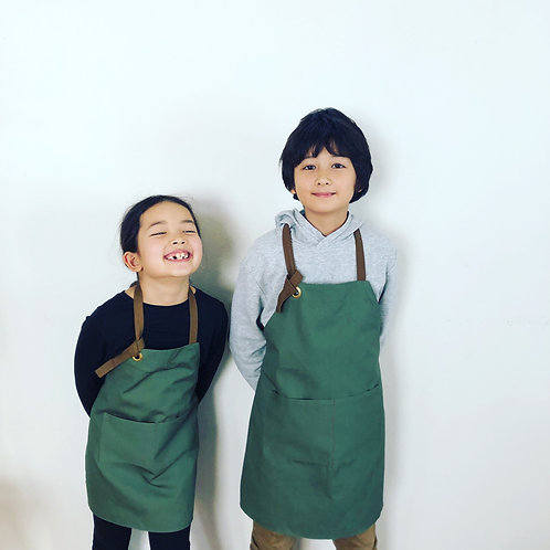 G.K.P. Kids Apron: Olive Green Canvas