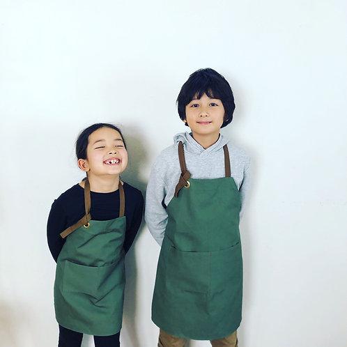 G.K.P. Kids Apron: Olive Green Canvas