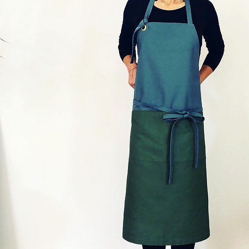 G.K.P. Apron: Gray X Olive Green Canvas