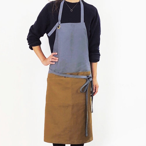 G.K.P. Apron: Gray X Brown Beige Canvas