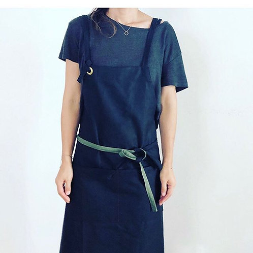 G.K.P. Cross Back Apron: Black Canvas