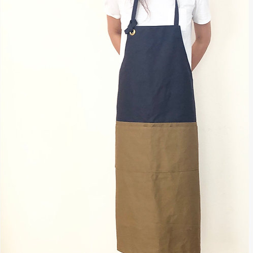 G.K.P. Apron: Dark Gray X Beige Brown Canvas