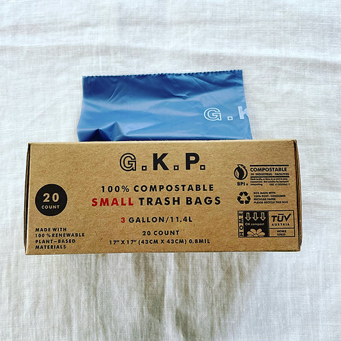 G.K.P. Compostable Small Trash Bag: 20 count (Light Navy X Red)