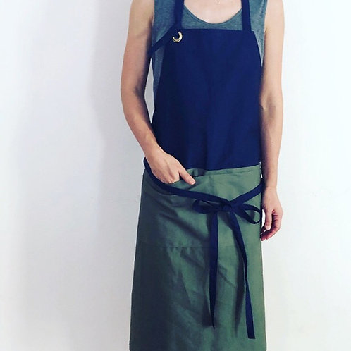 G.K.P. Apron: Navy X Olive Green Outback Canvas