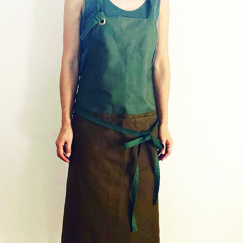 G.K.P. Apron: Olive Green Outback Canvas X Brown Twill
