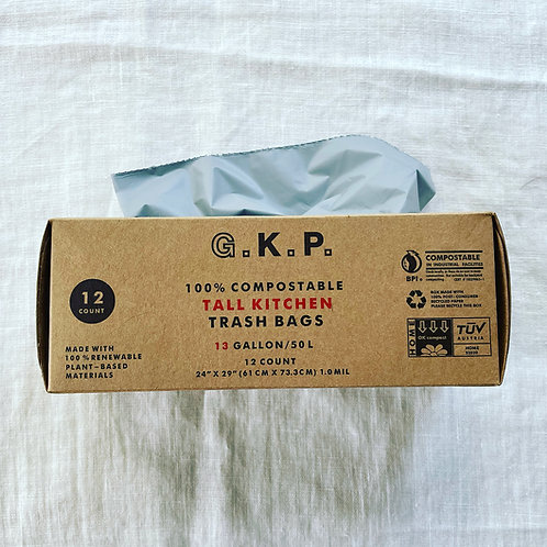 G.K.P. Compostable Tall Kitchen Trash Bags: 12 count (Gray X Tabacco Brown)