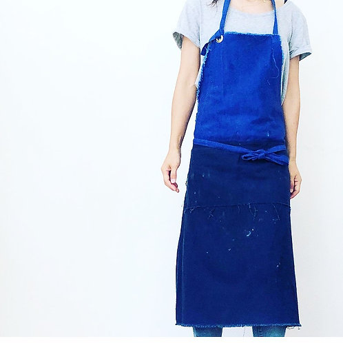 G.K.P. Fringy Apron: Blue X Retro Navy Canvas
