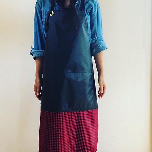 G.K.P. Back-tie Apron: Blue/Black Nylon Pack X Red