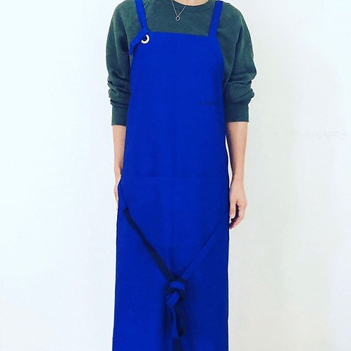 G.K.P. Cross Back Apron: Royal Blue Canvas