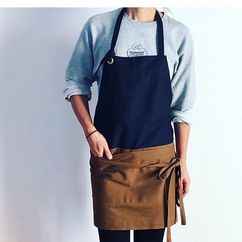 G.K.P. Apron SHORTer: Black X Brown Twill