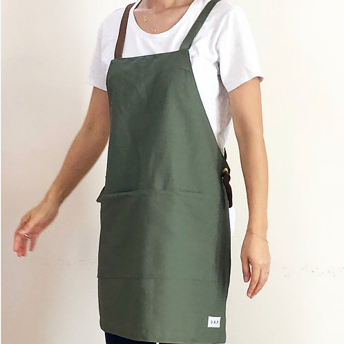 G.K.P. Slip-On Apron: Olive Green Canvas
