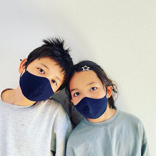 G.K.P. Kids Face Covering  (set of 2): Dark Navy + Indigo Blue