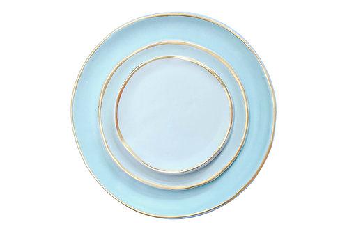 The Amalfi: Blue & Gold 3-Piece Ceramic Plate Set