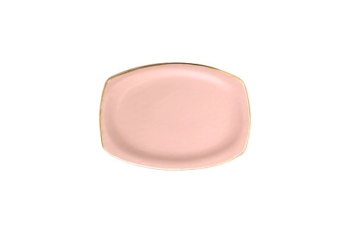 The Soleil: Medium Coral & Gold Serving Dish