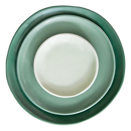 The Circe: Jade Green Ceramic 3-Plate Set