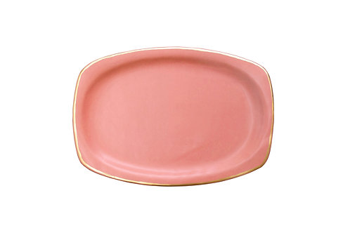 The Soleil: Large Coral & Gold Serving Dish