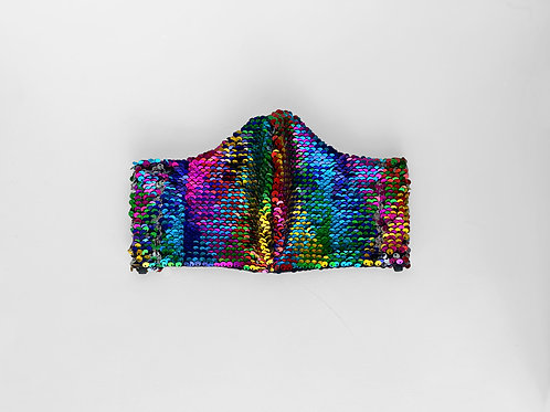 The Starsky: Rainbow Sequin Victory Mask