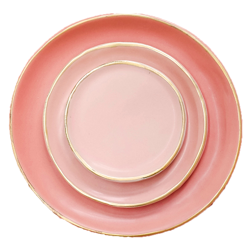 The Soleil: Coral & Gold 3-Piece Plate Set