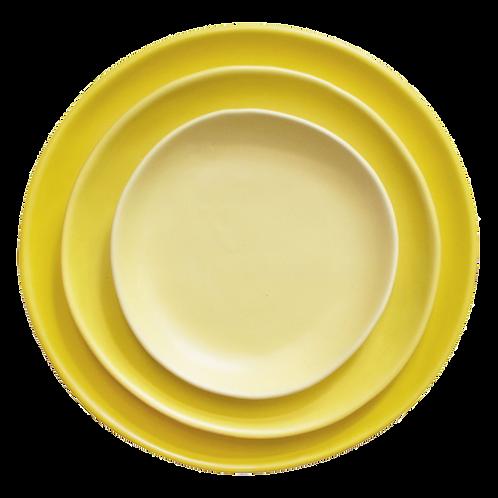 The Citrine: Bright Yellow Ceramic 3-Plate Set