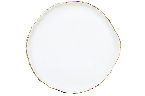 The Bloomington: White & Gold Dinner Plate