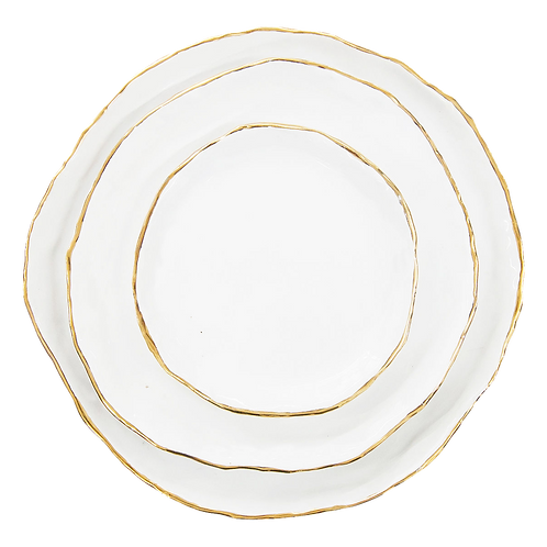 The Bloomington: White & Gold 3-Piece Ceramic Plate Set