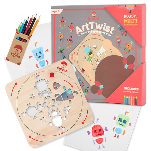 Robots | Rotating Wooden Drawing Stencil Kit