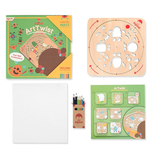 Monsters | Rotating Wooden Drawing Stencil Kit