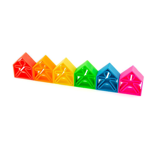 Dena Silicone Toy 12 Piece - Set People And Houses Neon