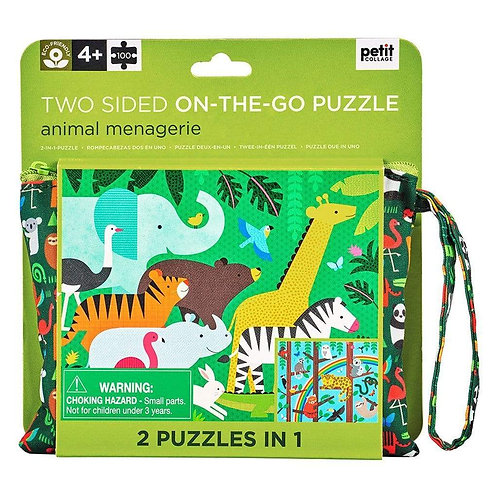Two Sided On-The-Go Animal Menagerie Puzzle, 100 Pieces