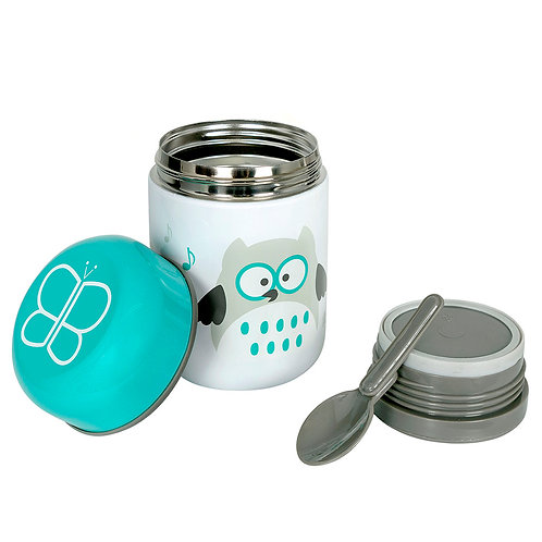 Thermal food container with spoon - Aqua