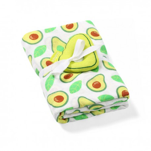 Bamboo muslin swaddle with a rattle - Avocado