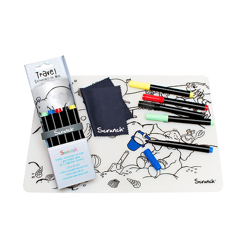 Scrunch Drawing Mat with 5 Pens - By The Sea