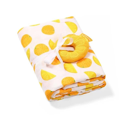 Bamboo muslin swaddle with a rattle - Orange