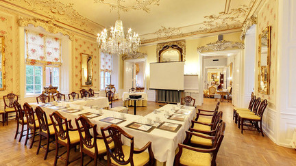 One of the dining rooms in Hvedholme Castle,  perfect for small castle weddings.