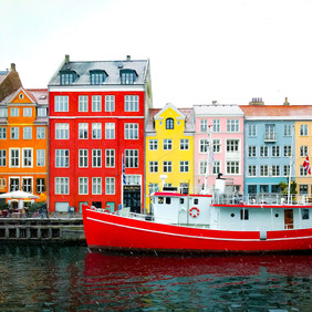 Famouys coloured houses in Copenhagen waiting for your marriage in Denmark