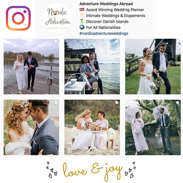 A peak at Nordic Wedding Adventures Instagram page, full of inspiration for your marriage in Denmark.
