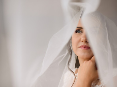 A romantic portrait of a bride during her romantic adventure elopement to Denmark for an intimate wedding abroad.