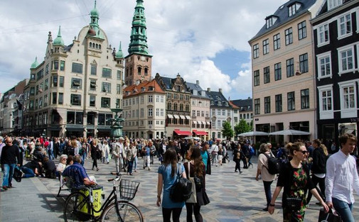 Tourists on the main Copenhagen square