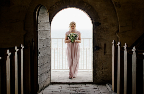 A romantic portrait of a lovely bride during her Danish wedding at Stevens Klint, a top destination for your elopement in Denmark.